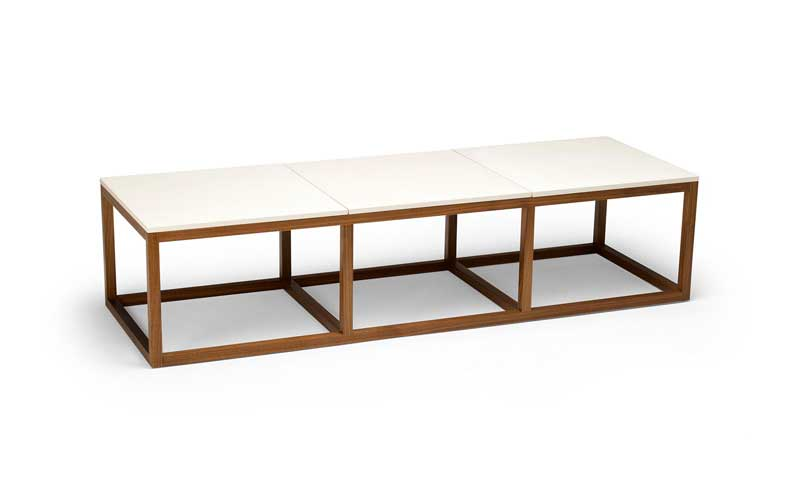 Peter Sandback Concrete and Walnut Coffee Table