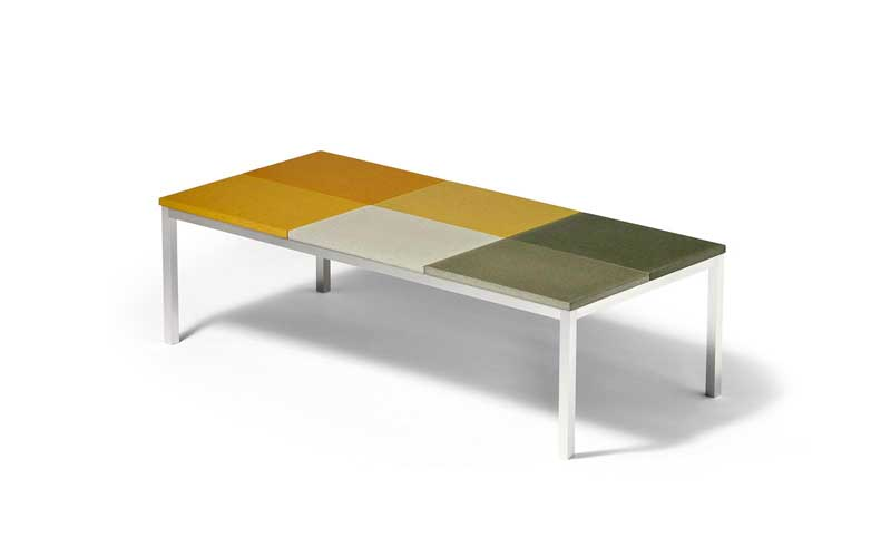 Peter Sandback Concrete and Aluminum Coffee Table