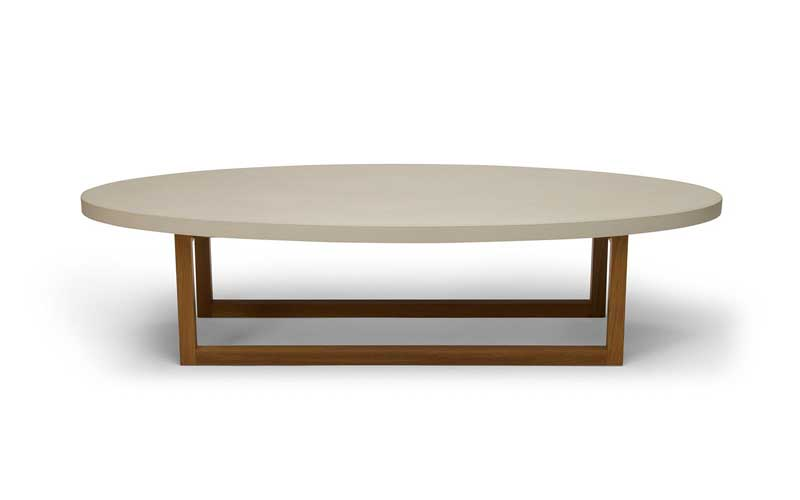 Peter Sandback Concrete and Oak Oval Coffee Table